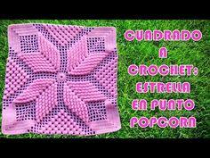 Ganchillo cuadrado STAR POPCORN paso a paso para colchas y cojines - пледы и подушки Crochet Motif Patterns, Granny Square Crochet Pattern, Crochet Squares, Crochet Granny, Crochet Designs, Easy Crochet, Crochet Cushions, Crochet Pillow, Beginner Crochet Tutorial