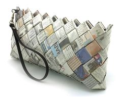 Recycled newspaper clutch.