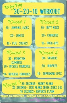 Rainy Day Home Workout. No equipment or gym needed!  You don't even need to leave the house- no excuses!  Get your fitness inspiration here!/ Running in a Skirt