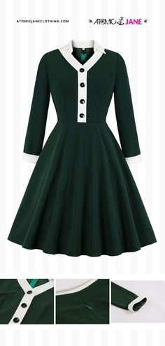 The Atomic #Vintage Green Long Sleeve #Dress is perfect for everyday casual wear, cocktail parties, date nights, or other occasions. Shop this dress at AtomicJaneClothing.com! Casual Wear, Casual Outfits, Cute Outfits, Gothic Fashion, Retro Fashion, Green Long Sleeve Dress, Jane Clothing, Cocktail Parties, Alternative Outfits