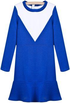 Blue Contrast White Long Sleeve Ruffle Dress US$34.10