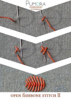 Pumora's embroidery stitch-lexicon: the open fishbone stitch II