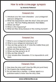 How to write a one-page synopsis by Amanda Patterson I've never met a writer who enjoyed writing a synopsis. I created this simple formula to help writers create a one-page synopsis. Please refer to my post on The Five Plotting Moments That Matter. Book Writing Tips, Writing Words, Writing Quotes, Fiction Writing, Writing Process, Writing Resources, Writing Help, Writing Skills, Writing Outline