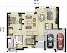 Plan image used when printing - Home & DIY Lake House Plans, House Plans One Story, New House Plans, Modern House Plans, Small House Plans, House Floor Plans, Compound House, Plan Chalet, House Construction Plan