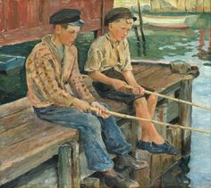 KARL ÖRBO, 1890-1958, Boys fishing. John Bauer, Carl Larsson, Boy Fishing, Bukowski, Illustrators, Canvas, Boys, Stockholm, Painters