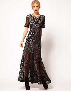 ASOS - Maxi robe avec superposition en dentelle