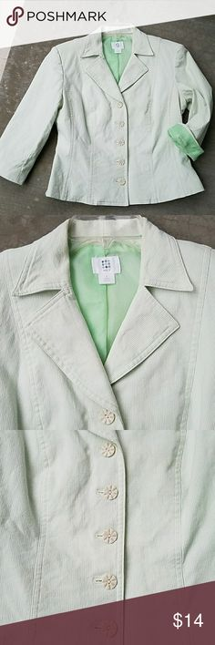"Green pinstripe blazer Creamy white and Green fully lined pinstripe cropped blazer. 3/4 sleeves that could be rolled to show the the pretty green lining. Very flattering shape in good condition.   97% Cotton 3% Spandex  17"" underarm to underarm  11"" underarm to hem  16"" waist 18.5"" across the bottom Apt. 9 Jackets & Coats Blazers"