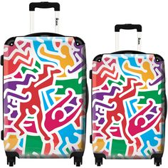 iKase 'Pop Art Keith Haring Multicolor Background' 2-piece Fashion Harside Spinner Luggage Set