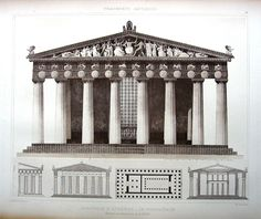 19 ~ Athens PARTHENON TEMPLE, 1905 CLASSICAL GREEK Architecture Design Art Print