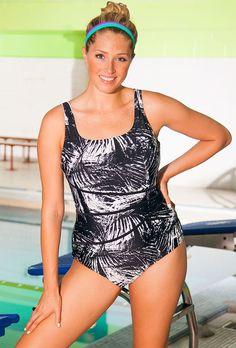 Aquabelle White Labyrinth Plus Size Spliced Swimsuit--Plus Size Swimsuit #DEALS http://poshonabudget.com/2014/09/plus-size-swimsuit-deals.html