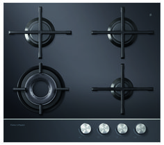 Gas on Glass Hob 60cm 4 Burner CG604DNGGB1 (DNG and LPG gas available). This Fisher & Paykel 60cm gas on glass hob with 4 burners has a stylish finish with black ceramic glass and a polished metal trim.
