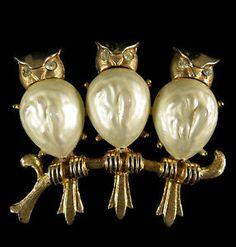 Vintage Brooch Unique Gold Tone Faux Baroque Pearl Trio of Owls | eBay