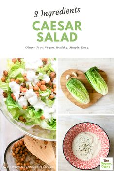 Only 3 main ingredients to make this wonderfully easy but satisfying salad. Cos / romain lettuce, chickpeas and sunflower seed dressing! Delicious. Dairy free, gluten free and vegan. Plant Based Recipes, Raw Food Recipes, Vegan Food, Healthy Tips, Healthy Recipes, Dairy Free, Gluten Free, Fresh Garlic, Caesar Salad