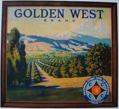 1920's Riverside, California  GOLDEN WEST Vintage Riverside Orange Crate Label