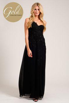 Black One Shoulder Floral Embellished Embriodered Detail Maxi Dress