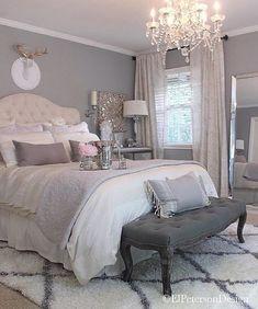 Ponto do Bordado Gray Bedroom, Trendy Bedroom, Home Bedroom, Master Bedroom, Bedroom Decor, Bedroom Ideas, Gray Bedding, Bedroom Rustic, Master Suite