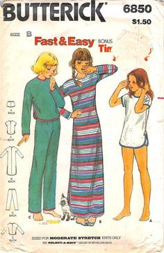 BUTTERICK 6850 - FROM  0080 - UNCUT - GIRLS NIGHTGOWN PAJAMAS AND BLOOMERS
