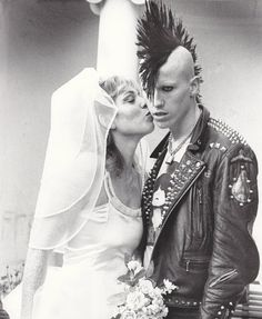 Beautiful wedding photo of a punk and his bride. #vintage #oddcouple