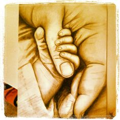 """This was an art project that I did as we started the new year with the theme: """"New Beginnings"""" So I did a drawing of a baby holding its mother's hand."""