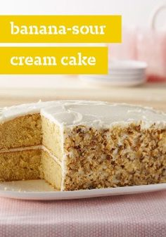 Banana-Sour Cream Cake – Hundreds of reviewers agree: this banana cake made with sour cream and cream cheese frosting is flavorful, easy and a serious crowd-pleaser.