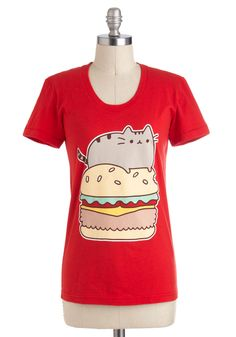 Pusheen Indulgence Tee - Red, Red, Yellow, Green, Brown, Tan / Cream, Novelty Print, Casual, Kawaii, Short Sleeves, Mid-length, Jersey, Cotton, Print with Animals