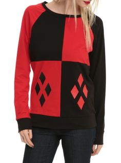 Pullover top with a red and black Harley Quinn cosplay design.