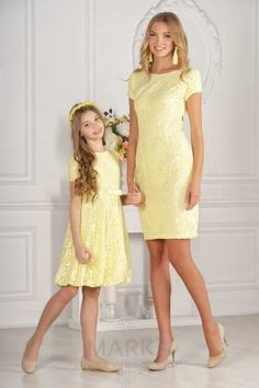 Mother Daughter Clothes Yellow Short Round Neck Short Sleeve Laced - Mother Daughter Clothes Yellow Short Round Neck Short Sleeve Laced You are in the right place about - Mother Daughter Matching Outfits, Mother Daughter Fashion, Mom Daughter, Mom And Baby Outfits, Kids Outfits, Mom Dress, Baby Dress, Mothers Dresses, Girls Dresses