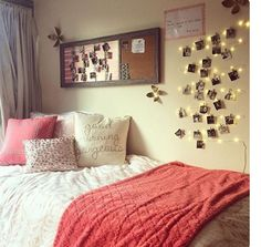 Coral Dorm Bedding, Twinkle Lights And Photos Part 49