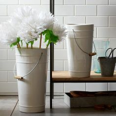 Ceramic Floral Bucket Vases | west elm