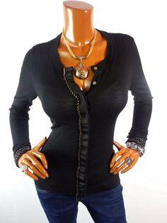 ELLIE TAHARI Womens Top M Black Cardigan Blouse Casual Shirt Gold Trim Button Dn #EllieTahari #Blouse #Casual