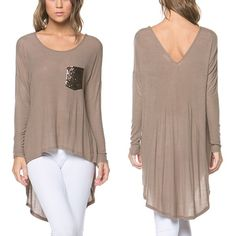The ASHLEE hi-Lo top - MOCHA One of the softest tops I've ever worn! Sequin front pocket. A MUST HAVE! ‼️NO TRADE‼️ Tops
