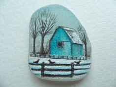Blue barn in the snow - original acrylic miniature painting on pretty frosted English sea glass. via Etsy