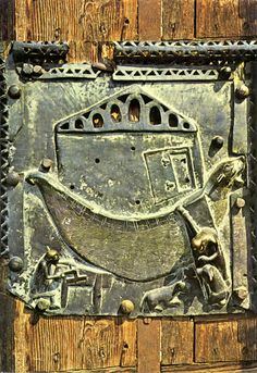XI century bronze door in Verona depicting Noah's... - Medium Aevum