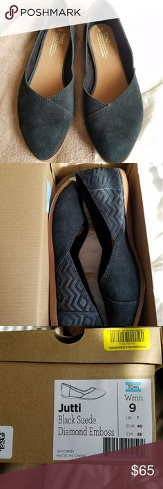 Jutti Black Suede Diamond Emboss Flats Black Toms Toms Shoes Flats & Loafers