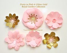 Royal Garden Pink & Gold Glitter Paper Flowers by TracesofPearl Gold Glitter Paper, Princess Theme Party, Paper Flowers Craft, Fancy Nancy, Flower Clipart, Diy Party, Party Ideas, Quilling Designs, Pink Parties
