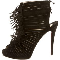 Pre-owned Christian Louboutin Booties ($525) ❤ liked on Polyvore featuring shoes, boots, ankle booties, black, black suede boots, lace up booties, fringe booties, black lace up booties and suede peep toe booties