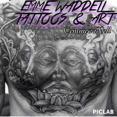 Black and grey Buddha Tattoo by Sydney tattooist Emme Waddell