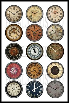 15 Steampunk Clock face flat back, pin back or hollow buttons. $4.99, via Etsy.