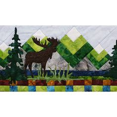 Moose and northern lights in Alaska | Northern Lights Moose Quilt ... : moose quilt pattern - Adamdwight.com