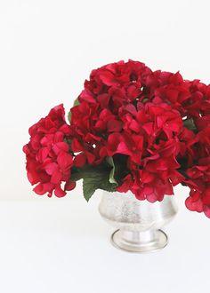 Fake Hydrangea Bush in Burgundy - Fake Hydrangeas, Hydrangea Bush, Red Rose Bouquet, Diy Bouquet, Bouquets, Red Wedding Flowers, Silk Flowers, Burgundy Floral Centerpieces, Last Minute Wedding
