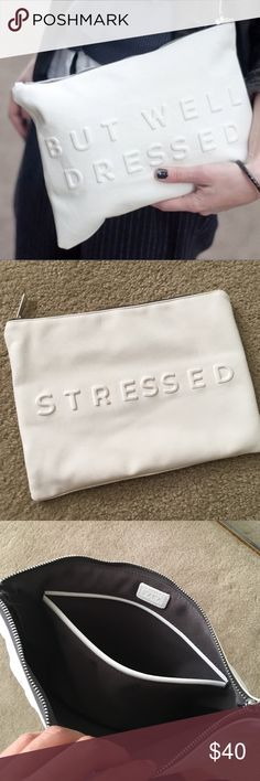 """ZARA stressed but well dressed pouch clutch Excellent condition. No stains, rips or yellowing. Just a little wrinkled from being stored. Blogger fav and very sought after bag!! I do not trade, pls don't ask! Dimensions 12"""" x 9"""" Zara Bags Clutches & Wristlets"""