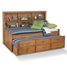 Varsity Pine II Kids Furniture Twin Daybed with Trundle - Furniture.com