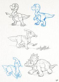 More Dinosaur Sketches by thazumi on DeviantArt