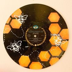 Your place to buy and sell all things handmade Excited to share this item from my shop: Honey Bee Painted Record – Hand painted vinyl records/wall decor/painted record/custom wall art Travelling. Record Wall Art, Cd Wall Art, Art Cd, Small Canvas Art, Diy Canvas, Vinyl Art, Vinyl Wall Decor, Vinyl Records Decor, Record Decor
