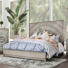 Margolis Transitional Antique Grey Panel Bed by FOA (Queen), Gray, Furniture of America Bed Dimensions, Panel Bed, Panel Headboard, Upholstered Platform Bed, Aesthetic Rooms, Bed Sizes, Bed Furniture, My New Room, Bed Frame