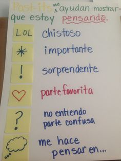 Post-its help you read Bilingual Kindergarten, Kindergarten Anchor Charts, Bilingual Classroom, Bilingual Education, Spanish Classroom, Spanish Lesson Plans, Spanish Lessons, Spanish Teaching Resources, Reading Resources