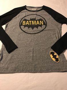 Batman Black And Gray Longsleeve Stretch T-Shirt Size Large NWT #Batman #LongSleeve