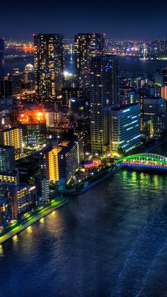 tokyo, bridge, night, buildings, skyscrapers
