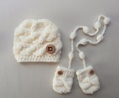 Knit SET Baby Boy Hat and Mittens  Baby  Photo by KnittingLand, $28.00
