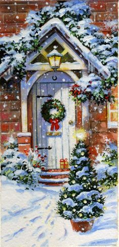 Jim Mitchell | Advocate Art Christmas Scenes, Noel Christmas, Victorian Christmas, Christmas Greetings, Winter Christmas, Christmas Crafts, Christmas Decorations, Christmas Mantles, Outdoor Decorations